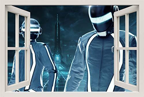 Unified Distribution Daft Punk Tron City - Wandtattoo mit 3D Effekt, Aufkleber für Wände und Türen Größe: 92x61 cm, Stil: Fenster (Daft Punk-aufkleber)