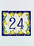 Hausnummern aus Keramik, Hausnummer Zitronen, Dübel Keramik NL 21.Dim: Höhe 15cm, Breite insgesamt 17,6cm
