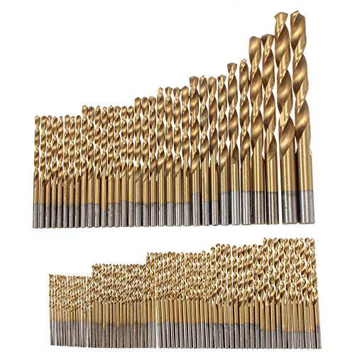RanDal 100 Stück 1.5Mm-10Mm Titanium Coated Drill Bit Set High Speed Steel Manual Twist Drill Bits - High-speed Steel Twist Drill