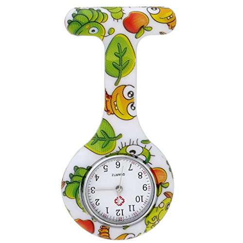 JSDDE Uhren,Krankenschwester FOB-Uhr Damen Silikon Tunika Brosche Taschenuhr Analog Quarzuhr,Gruen Insekt Muster