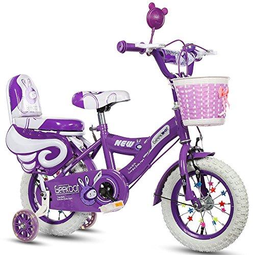 Geekbot Bicicletta bambino ragazza 12 pollici - Bambino 3-6 anni - Pneumatico gonfiabile - Vestibilità comoda - Piccola cablata - Pneumatico principessa con pneumatici bianchi