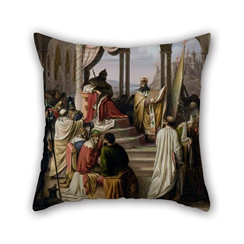 beautifulseason Oil Painting Johann Leberecht Eggink - Prince Vladimir Chooses A Religion in 988.(A Religious Dispute in The Russian Court) Pillow Cases 18 X 18 Inches/45 by 45 cm Gift or Decor F -