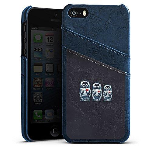 Apple iPhone 6 Housse Étui Silicone Coque Protection Os Crâne Tête de mort Étui en cuir bleu marine
