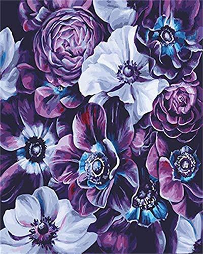 jiushice Telaio Pittura ad Olio di colorazione di Fiori e Decorazione Domestica di Calligrafia 40x60cm