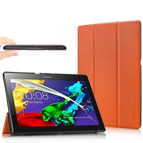 Infiland Lenovo Tab 2 A10-70/A10-70L/A10-70F/ A10-30F/A10-30L / Tab 3 10 Business/ Tab3 10 Plus Hülle Case, Ultra Dünn Tri-Fold Smart-Muschel Schutzhülle(mit Auto Schlaf/Wach Funktion)(Orange)