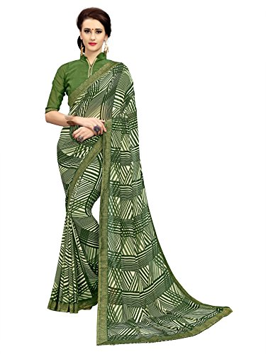 TAGLINE Georgette Saree With Blouse Piece(Tag51079_Multicolor Free Size)
