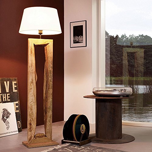 Licht-Trend Timber Stehleuchte mit Holzfuß h126 cm Braun Holz Stehlampe