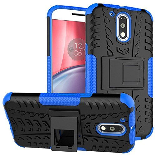 DMG Mesh Kickstand Armor Hard Back Cover Case for Moto G4 Plus/4th Generation (Blue)