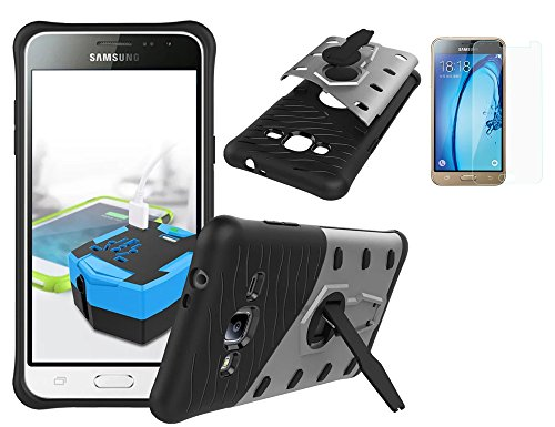 Preisvergleich Produktbild ISENPENK Samsung galaxy J3(2016) / J3(2016)Duos Handy Hülle, Ultra Slim TPU+PC Hochwertig Hülle Cool Schutzhüllen Tough Rugged Dual-Layer Tasche with 360-Grad-Drehung Built-in Kickstand Thin Case für Samsung galaxy J3(2016) / J3 (2016)Duos 5.0 Zoll-[silber]+Panzerglas Folie / Displayfolie / Schutzfolie