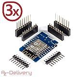 AZDelivery ⭐⭐⭐⭐⭐ D1 Mini NodeMcu Lua ESP8266 ESP-12E WLAN WiFi Internet Module Entwicklungsboard für Arduino, 100% kompatibel mit WeMos D1 Mini (3X D1 Mini)