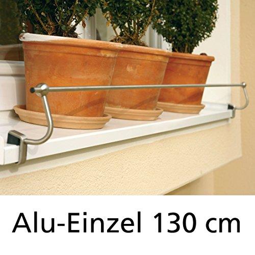 Blumenkasten-Halterung 130 cm, Edelstahl f. Alu-Fensterbänke, Montage ohne Bohren