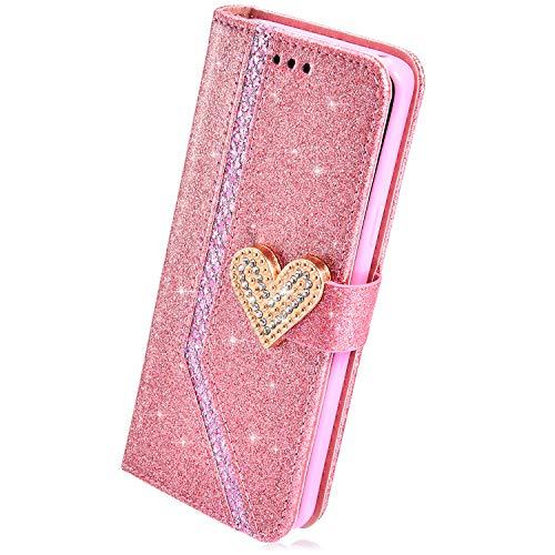 Herbests Kompatibel mit Huawei Honor 8 Lite Hülle Leder Schutzhülle Glänzend Glitzer Strass Diamant Liebe Flip Wallet Case Lederhülle Leder Tasche Klapphülle Kartenfach Ständer,Pink