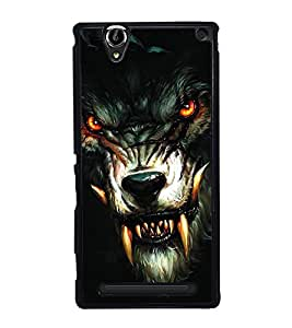 Fuson Premium 2D Back Case Cover Ferocious LION With Red Background Degined For Sony Xperia T2 Ultra::Sony Xperia T2 Ultra Dual