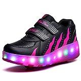 Unisex Bambini LED Skateboard Scarpe Singola Doppio Rotelle LED Luci Lampeggiante Sneaker All'aperto Sportive Pattino A Rotelle Scarpe con Regolabili Rotelle (35 EU, Rosa Nera Doppia Ruota 02)