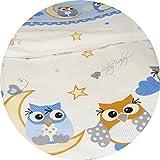 Baby Bettset 120x90 Wunderschöne Kinderbettwäsche Nestchen Bettuch Babybett NEU 100% Baumwolle (3-teilig Betttuch, Eule Blau)