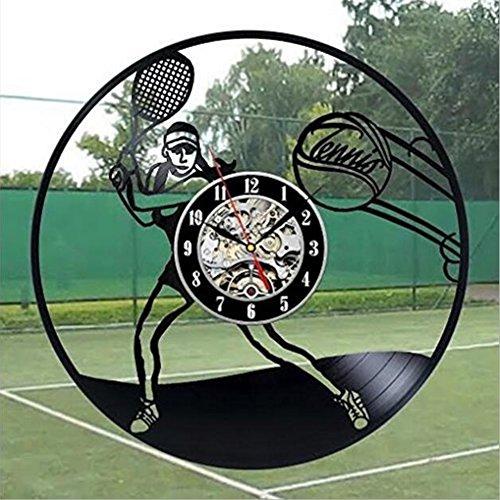 YUN Clock@ Wanduhr aus Vinyl Schallplattenuhr Upcycling Familien Dekoration 3D Tennis Design-Uhr Wohnzimmer Schlafzimmer Restaurant Wand-Deko Kunst Geschenk/Durchmesser 30 cm