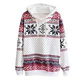 JUTOO Frauen Weihnachten Jumper Pullover mit Kapuze Pullover Top(Weiß,EU:50/CN:4XL)