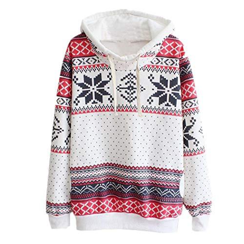 JUTOO Frauen Weihnachten Jumper Pullover mit Kapuze Pullover Top(Weiß,EU:48/CN:3XL)