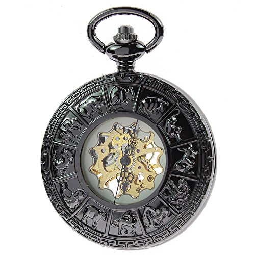 itemstoday-mens-black-chinese-zodiac-pattern-carved-hollow-cover-yellow-dial-hand-winding-mechanical
