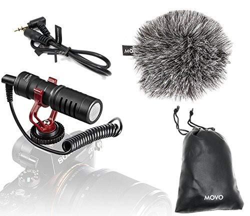 Movo VXR10 Universal Video Mikrofon mit Shock Mount, Fell-Windschutz, Hülle für iPhone/Andoid Smartphones, Canon EOS/Nikon DSLR Kameras und Camcorders Dslr-video
