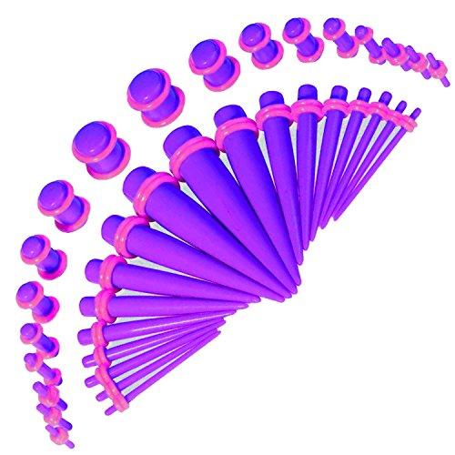 36 Dehnugsringe mit Stecker und O-Ring, Violett, 14G bis 00G (Verjüngt Gauge 4)