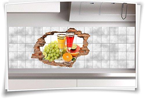 Fliesenaufkleber Fliesenbild Wanddurchbruch Früchte Saft Obst Multivitamin, 120x80cm, 25x25cm (BxH) - 80 Multivitamine
