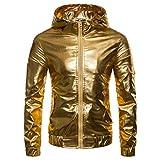 ZIYOU Herren Jacken PU Leather, Luxus Gold Silber Langarm Kapuzenmantel Männer Hip Hop Jacke Pullover(M,Gold)