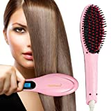 Velveeta Professional Ceramic Hair Straightener Brush Fast Detangling Electric Comb, Digital Display, Massage Straightening Anti Static Anti Scald
