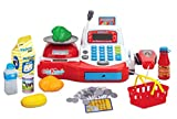 Grocery Store Cash Register with Checkout Scanner Credit Card Reader Microphone Play Money and Food Playset