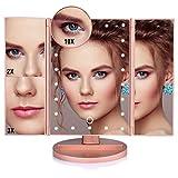 Tableau De Miroir De Maquillage À DEL De 22 Miroirs De Maquillage De Bureau Miroir Grossissant De Miroirs 1 / 2X / 3X / 10X Meuble-miroir 3 Réglable (Color : Rose Gold)
