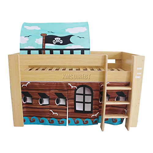 FoxHunter Childrens Wooden MDF Mid Sleeper Cabin Bunk Bed Kids Tent Single 3FT Pirate Pine Frame No Mattress New