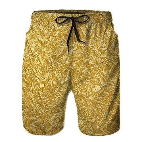 Pillow Socks Men's Shorecrest,Gold foil Seamless Background tex Fishing Swim Short XX-Large - Foil Print Leggings