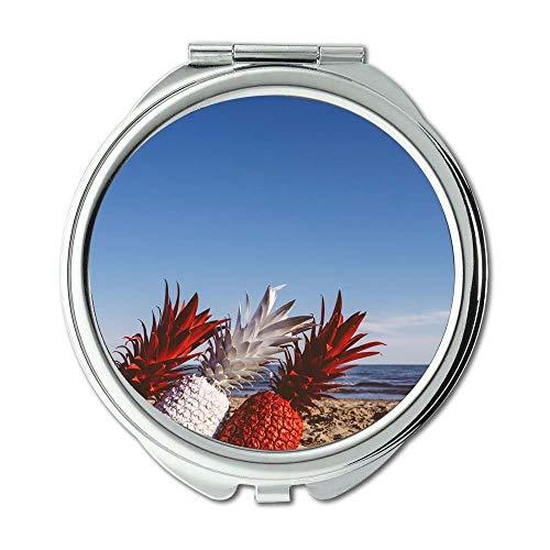 Yanteng Spiegel, Travel Mirror, Strand Blauer Himmel Früchte, Taschenspiegel, tragbarer Spiegel