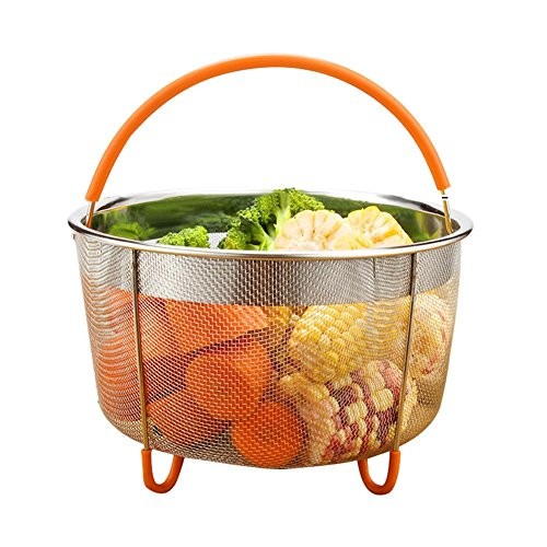 ampfeinsatz für Kochen Edelstahl Lebensmittel-Dämpfer Reiskocher Gemüse-Dämpfer Korb mit Silikongriff ()