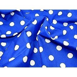 Tela (114 cm de ancho, venta por metro), diseño a lunares blancos, color azul marino