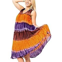 La Leela vestido de la playa de Seda artificial cubre para arriba el lazo mujeres tinte maxi vestido de baño túnica múltiples