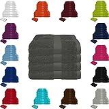 Handtuch Sets Frottier 500g/m2 in vielen Größen und Farben, sowie 10er Sparpack, 100% Baumwolle, 4er Pack Handtücher Anthrazit