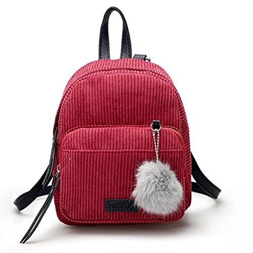 SuperSU Damen Lässig Handtaschen Alltag Büro Schule Ausflug Einkauf Vintage Corduroy Daypack Schultasche Rucksäcke Schulranzen Reise Umhängetasche (Rot)