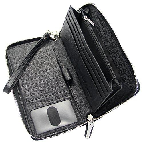 Borsa donna in blocco RFID Blocco in pelle chiusa Zip in giro per frizione Grande raccoglitore da viaggio nero Nero