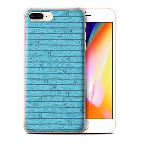 Stuff4 Hülle / Case für Apple iPhone 8 Plus / Orange Muster / Holz-Muster Kollektion Türkis
