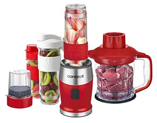 Concept Electrodomésticos SM3392 Batidora de Eléctrico, 700 W, 1.2 Litros, Acero Inoxidable, Rojo