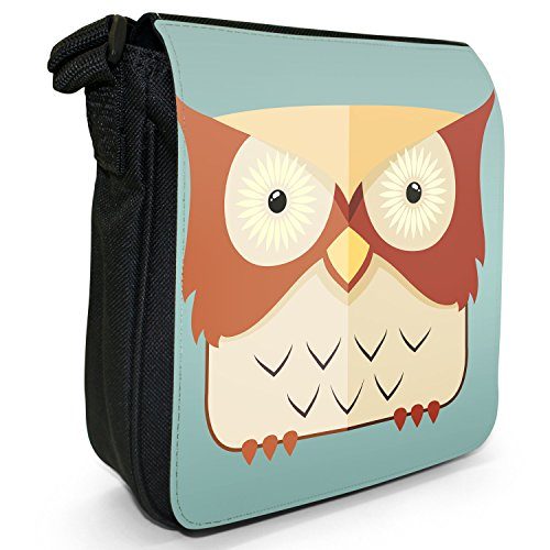 Divertenti Awesome Vecchio Saggio gufi piccolo nero Tela Borsa a tracolla, taglia S Brown Light Yellow Staring Owl