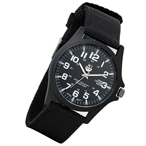 Lancardo Men'S Military 24H Time Wrist Watch With Calendar Nylon Strap Band (Black)