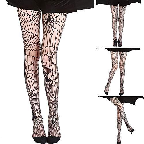 ZAK168 Halloween-Netzstrümpfe für Damen, sexy, Spinnennetz, Netzstrümpfe, Stretch, für Halloween, Party, Cosplay, Frauen, Schwarz, 1