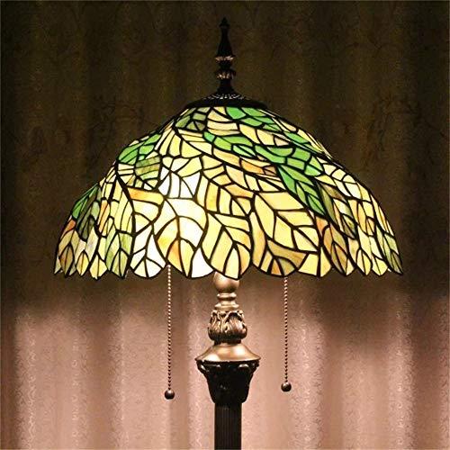 Lily's Love 16-Zoll-grüne Blätter Rotation europäischen pastoralen Stil elegante Luxus kreative handgemachte Glasmalerei Stehlampe -