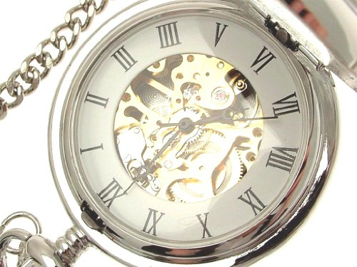 Pocket Watches Solid Pewter Fronted Mechanical Skeleton Pocket Watch 58