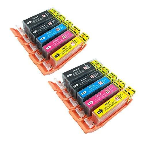 PerfectPrint Kompatibel Tinte Patrone Ersatz für Canon iP3600 iP4600 iP4700 MP540 MP550 MP560 MP630 MP980 MP990 MX860 MX870 PGI-520 CLI-521 (Schwarz/Schwarz/Cyan/Magenta/Gelb, 10-Pack)