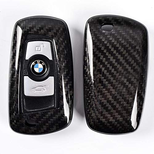 NORDECCO Schutzhülle aus echtem Kohlefaser, 3/4-Knopf, Smart Schlüssellos, kompatibel mit BMW M2 M3 M4 M5 M6 F12 F13 F20/52 F22 F30 F31 F32 F33 F34 F35 F36 F84 G31 -