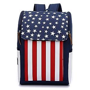 Moda raya de la bandera americana Bandera de Estados Unidos Mochila Para la escuela Los estudiantes