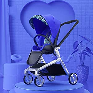QLHQWE Baby Stroller Bi-directional Light High Landscape Can Sit On The Reclining Folding,Blue   1